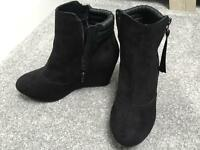 M&S black suede ankle boot with wedge heel size 5