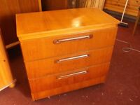 RETRO MID CENTURY TEAK 3 DRAWER CHEST