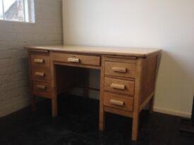 Golden Oak Double Pedestal Desk / Sales counter - early 20th century / vintage - refurbished