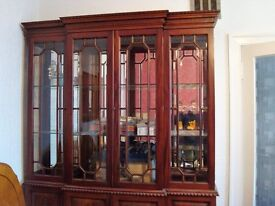 Large Display Cabinet with bevelled edge glass doors and mirror back