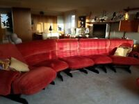 Original 1970s Heal's sectional sofa and matching armchair in organge (retro)