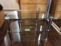 3 Shelves Glass TV Unit