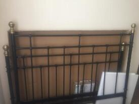 King size Black and gold Metal bed frame (ikea)