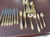 18/8 STAINLESS STEEL 46 PIECE GOLD COLOURED CUTLERY SET