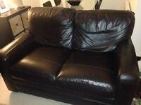 Dark brown 2 and 3 seater leather sofas