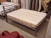 Double bed frame with wavy headboard and mattress. 3 available