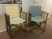 Folding director-style garden chairs x2