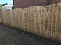 🐌 PRESSURE TREATED HEAVY DUTY BOW TOP WOODEN GARDEN FENCE PANELS