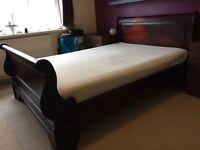 MAHOGANY BED with mattress £180!!!!!