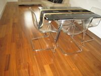 Extendable plexiglas/chrome dining table and 4 chairs excel cond- final reduction for sale by Aug 3