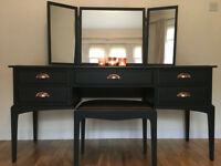 Vintage STAG Minstrel 5 drawer dressing table mirrors stool and copper handles