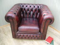 Oxblood leather Chesterfield Club Chair.