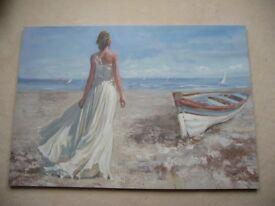 """Print on Canvas """"Woman on Beach"""" measures 100cm x 70cm"""