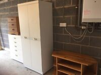 White wardrobe and matching chest of drawers, pine TV corner unit, pine bedside table with 3 drawers