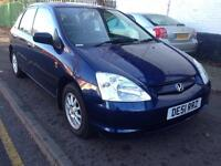 2002 HONDA CIVIC 1.4 PETROL. BREAKING FOR PARTS SPARES ONLY. 5 Door. Blue. Paint code B96P