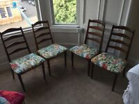 Beautiful and unique retro dining table with four chairs