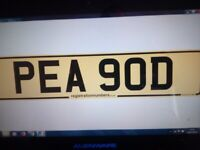 private number plate....... PEA POD.....one off plate