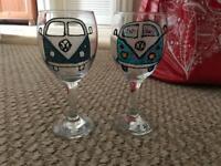 Handmade Volkswagen Splitscreen wine glasses