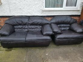 Black Leather Three Piece Sofa
