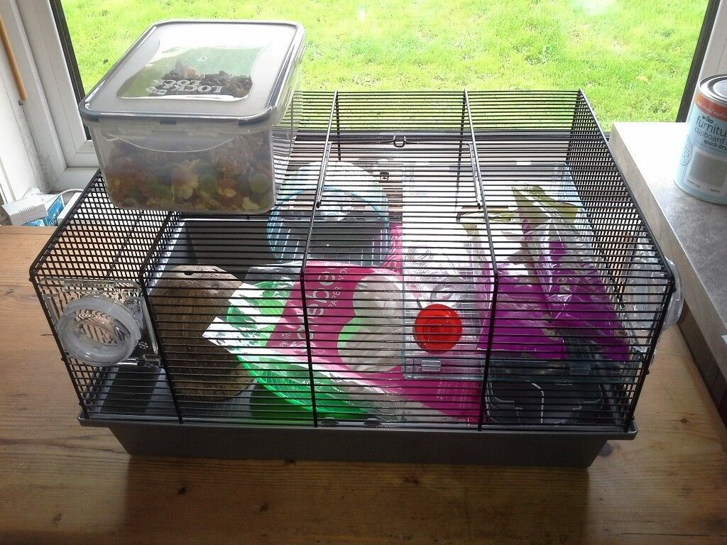 MEDIUM SIZED WIRE HAMSTER CAGE + FOOD, BEDDING & EXTRAS