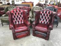 Stunning matching pair of oxblood wingback chairs UK delivery