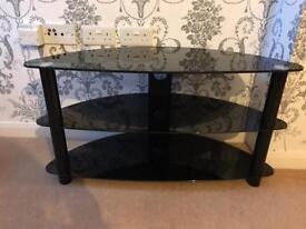 Black glass, tv unit, coffee table and side table