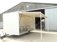 LARGE WHITE EXHIBITION MARKET DISPLAY BOX TRAILER! - 14ft LONG - TOW WITH CAR / VAN - GOOD CONDITION