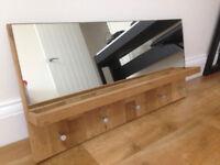 Solid oak coat & key rack with mirror