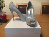 Glittery Silver Peep Toe Heels