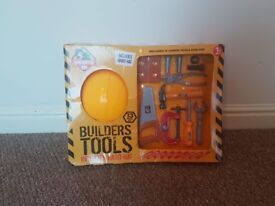 Kids builders tools with hard hat