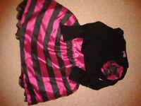 Cerise and Black striped dress. F and F, age 18-24 months.