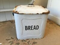 Vintage Large Enamel White Bread Bin - Shabby Chic Storage