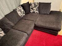 Black Left Side L-Shape Sofa