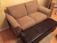 Natuzzi Large 2 Seater Sofa & Leather Footstall