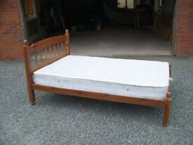 Antique pine wood 4 foot double bed.