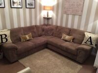 Large jumbo cord brown corner sofa, under a year old, immaculate condition