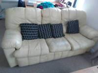 Cream leather sofa 3 seater