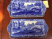 Pair of Copeland Spode Blue Italian vintage porcelain trays