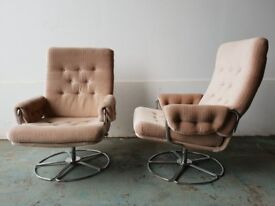 PAIR OF RETRO FABRIC SWIVEL ARMCHAIRS / ARMCHAIR SET DELIVERY AVAILABLE