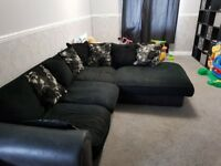 Black right hand corner sofa
