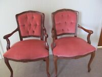 Pair of French louis style pink suedette chairs