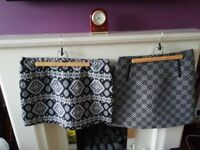 Black and White Patterned Skirts - Size 14