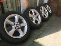 17 INCH ALLOY WHEELS WITH TYRES GENUINE BMW ACURA VAUXHALL JAGUAR
