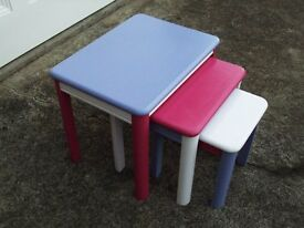 Nest of three coloured tables
