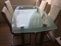 Contemporary Style Glass Dining Table and Chairs