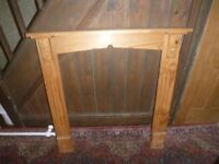 WOODEN PINE FIRE SURROUND AND MANTEL PIECE