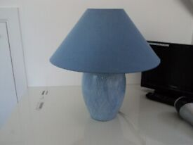 Vibrant blue colour lamp base and shade.