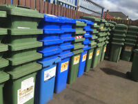 100 green and blue bins with keys to lock