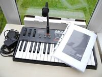 AKAI MINIAK SYNTHESIZER KEYBOARD WITH VOCODER MINT CONDITION WITH ORIGINAL MIC POWER SUPPLY + MANUAL