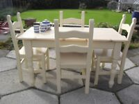 Shabby Chic Solid Pine Farmhouse Country Table and 4 Ladder Back Chairs In Farrow & Ball Cream No 67